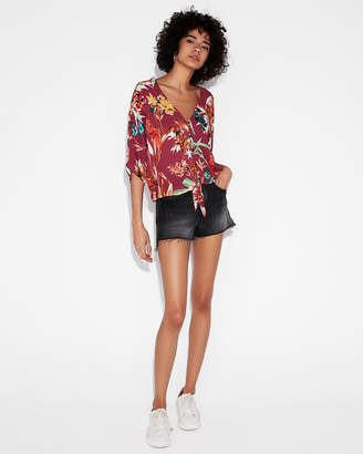 Express Floral Short Sleeve Tie Front Shirt
