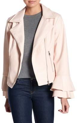 Moto Coffee Shop Layered Bell Sleeve Faux Leather Jacket