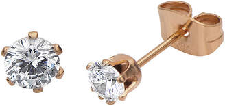 JCPenney FINE JEWELRY Cubic Zirconia 4mm Stainless Steel and Rose-Tone IP Stud Earrings