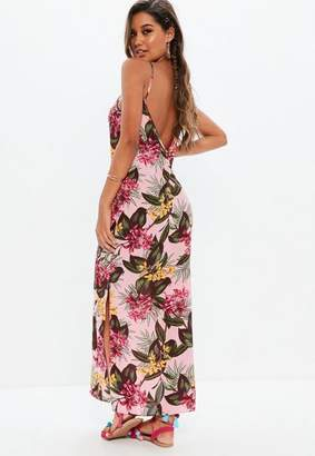 Missguided Pink Floral Slip Strap Maxi Dress