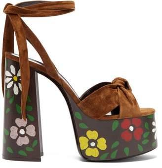 Saint Laurent Paige Floral Platform Leather Sandals - Womens - Tan Multi