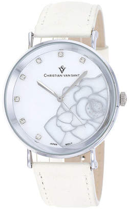 Mother of Pearl CHRISTIAN VAN SANT Christian Van Sant Fleur Womens Mother-of-Pearl White Leather Bracelet Watch