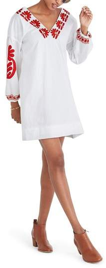 Madewell Blanca Embroidered Applique Shift Dress