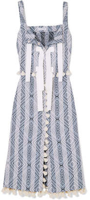 Altuzarra Villette Grosgrain-trimmed Tasseled Cotton-blend Jacquard Midi Dress