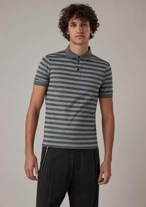 Giorgio Armani Cotton And Silk Jersey Polo Shirt With Striped Pattern