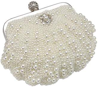 MaliaDress Fashion Women Handmade Faux Pearl Beaded Rhinestone Clasp Evening Clutch Purse M055BG