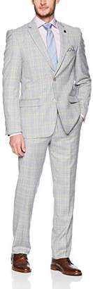 Stacy Adams Men's Single Breasted Plaid Slim Fit Suit