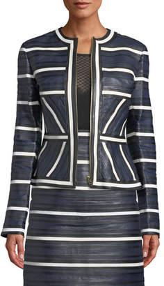Escada Leather Seamed-Stripe Zip Jacket