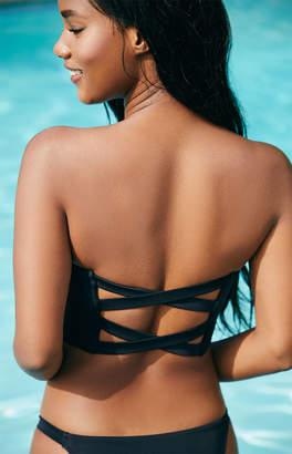 LA Hearts Black Aster Cross Back Bandeau Bikini Top
