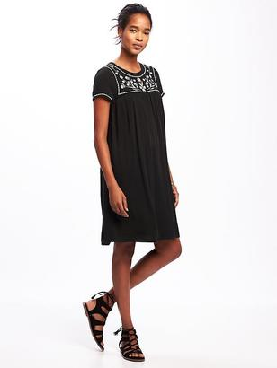 Embroidered-Yoke Shift Dress for Women $39.94 thestylecure.com