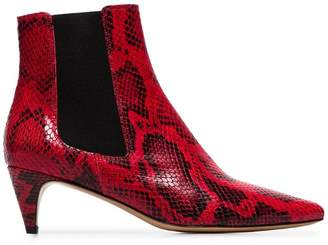 Etoile Isabel Marant red and black 50 Detty snake effect leather ankle boots
