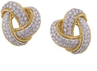 David Webb 18K Yellow gold with Diamond Earrings