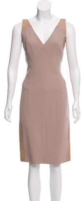 Kaufman Franco KAUFMANFRANCO Leather-Trimmed Knee-Length Dress w/ Tags