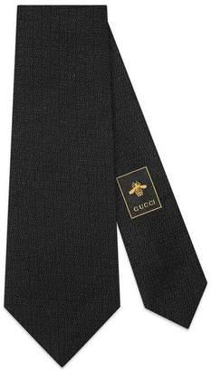 Gucci Tiger head underknot silk wool tie