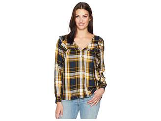 Bobeau B Collection by Pangra Plaid Blouse