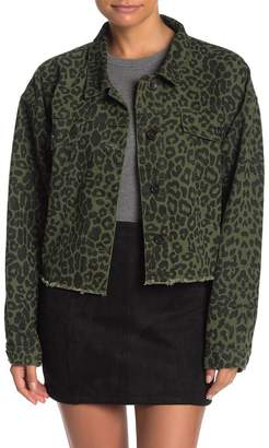 Wild Honey Leopard Print Fray Hem Denim Jacket