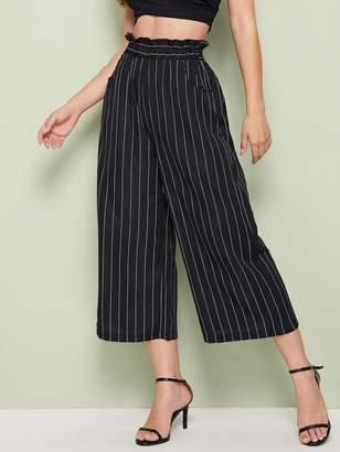 Shein Striped Wide Leg Paperbag Waist Crop Pants