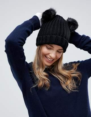 Brave Soul Half Cardigan Knit Hat with 2 Faux Fur Poms