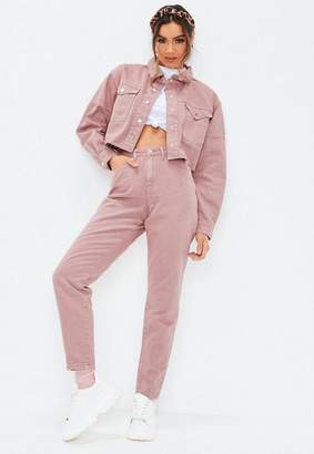Missguided Blush Pink High Rise Rigid Co Ord Mom Jeans, Pink