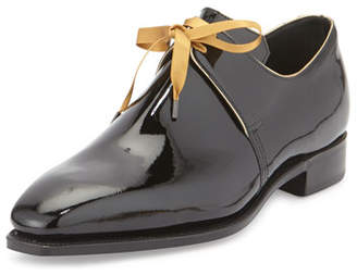 Arca Corthay Patent Leather Derby Shoe with Gold Piping, Black