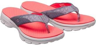 8d3439e441 Skechers Womens GOwalk Pizazz Toe Post Sandals Grey/Hot Pink