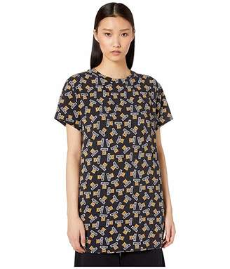 Moschino Jersey Stretch Maxi T-Shirt w/ Teddy Bears All Over