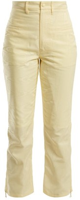 Marine Serre High Rise Moire Cropped Trousers - Womens - Yellow