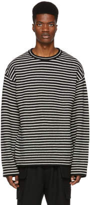 Juun.J Black and White Striped Crewneck Sweater