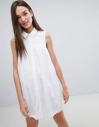 Asos DESIGN Mini Cotton Pleated Swing Shirt Dress