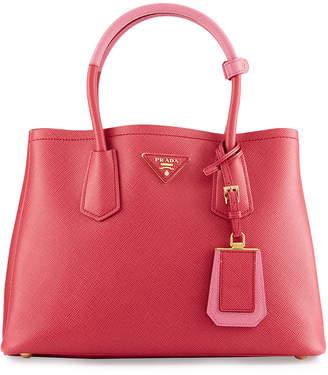 Prada Saffiano Cuir Double Mini Tote Bag, Pink