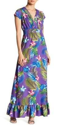 Romeo & Juliet Couture Open Back Printed Maxi Dress