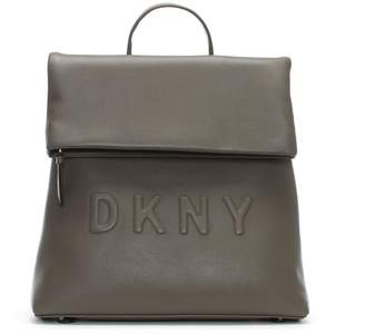 DKNY Tilly Stone Leather Logo Backpack
