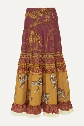 Johanna Ortiz The Last Kashmiri Rose Tiered Printed Cotton-poplin Maxi Skirt - Burgundy