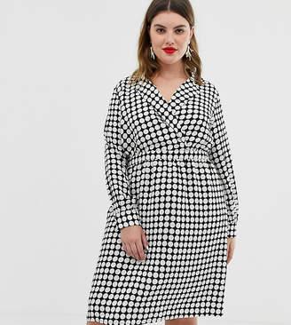 Vero Moda Curve spot wrap front midi dress