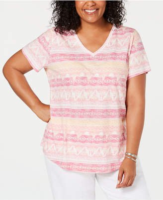 Style&Co. Style & Co Plus Size Printed V-Neck T-Shirt