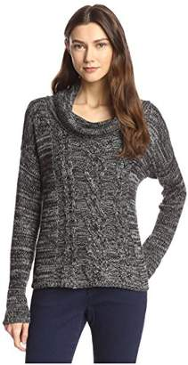 James & Erin Women's Marled Cable Cowl Neck Sweater