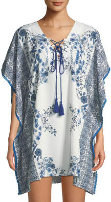 Free Generation Floral Tile-Print Tie-Neck Coverup Dress