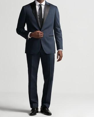 Express Classic Dark Blue Cotton Sateen Tuxedo Jacket