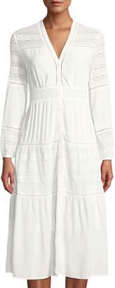 Few Moda Folk-Lace Button-Front Tiered Dress