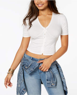 American Rag Juniors' Cropped Lace-Trim Top, Created for Macy's