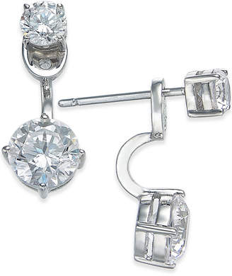 Danori Silver-Tone Double Crystal Front Back Earrings $35 thestylecure.com