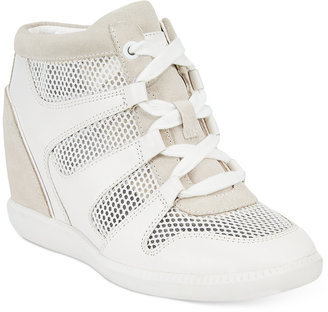 MICHAEL Michael Kors Astrid High-Top Wedge Sneakers $195 thestylecure.com