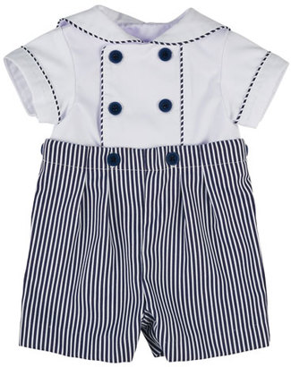 Florence Eiseman Ottoman Double-Breasted Sailor Shortall Set, Navy Blue/White, Size 3-24 Months $78 thestylecure.com