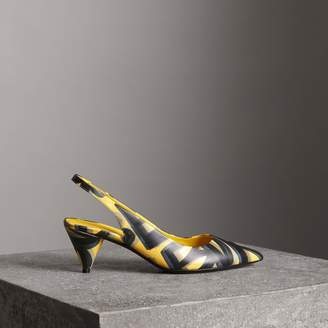 Burberry Graffiti Print Leather Slingback Pumps