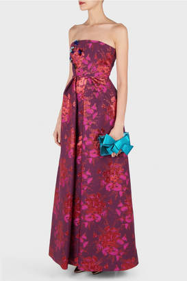 DELPOZO Strapless Jacquard Dress
