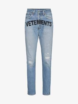 Vetements logo-print straight jeans