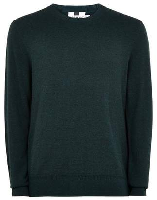 Topman Mens Green Teal Hem Stitch Jumper