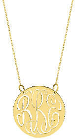"QVC Sterling & Gold Plated 7/8"" Cutout Monogram Necklace"