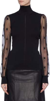 Alexander McQueen Beetle embroidered mesh sleeve rib knit turtleneck top