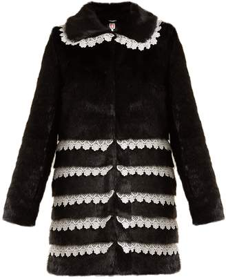 SHRIMPS Sol lace-trimmed faux-fur coat